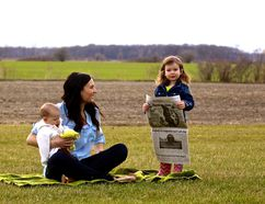 Tara Jeffrey and her daughters Avery, 2, and Hallie, 6 months, enjoy some time outdoors at their St. Clair Township farm. After eight years with The Observer, Jeffrey is bidding farewell to journalism, for now. (Submitted photo)