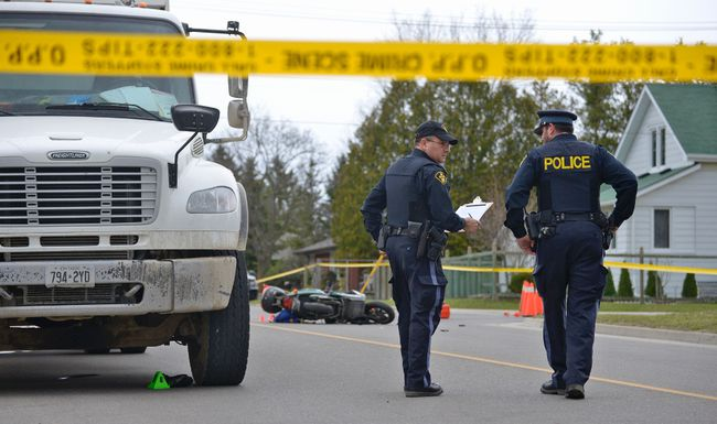Oxford County Ontario Provincial Police responded to a collision that occurred Friday morning at the corner of Lisgar Avenue and Fourth Street. The collision involved an Emterra Environmental recycling truck and an e-bike. CHRIS ABBOTT/TILLSONBURG NEWS