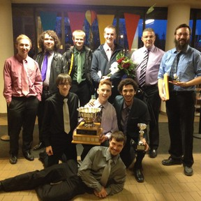 The Memorial Composite High School Men's Ensemble was ecstatic to win the Rose Bowl Award during a gala in St. Albert on April 22. In addition to this award, the Men's Ensemble and the school's Mass Choir have received nominations to compete in the 2014 provincial competition in May. - Photo Supplied