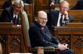 Former Canadian Deputy Prime Minister Herb Gray listens to a tribute in his honor on Parliament Hill in Ottawa, in this March 13, 2002 file photo.  REUTERS/Pool