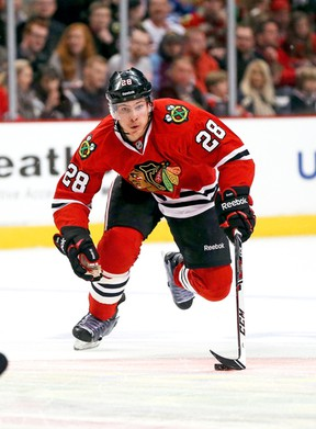 Chicago centre Ben Smith has seen some second-line duty and contributed to Patrick Kane's OT goal in Game 4 that tied the series up with the Blues. (Getty Images/AFP file)