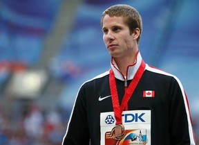 Derek Drouin set the Canadian high jump record of 2.40m at the Drake Relays in Des Moines, Iowa on Friday, April 25, 2014. (Maxim Shemetov/Reuters/Files)
