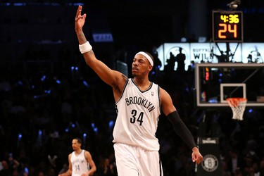 Brooklyn Nets forward Paul Pierce (34) reacts during the fourth quarter of Game 3 against the Toronto Raptors on April 25. (Anthony Gruppuso-USA TODAY Sports)