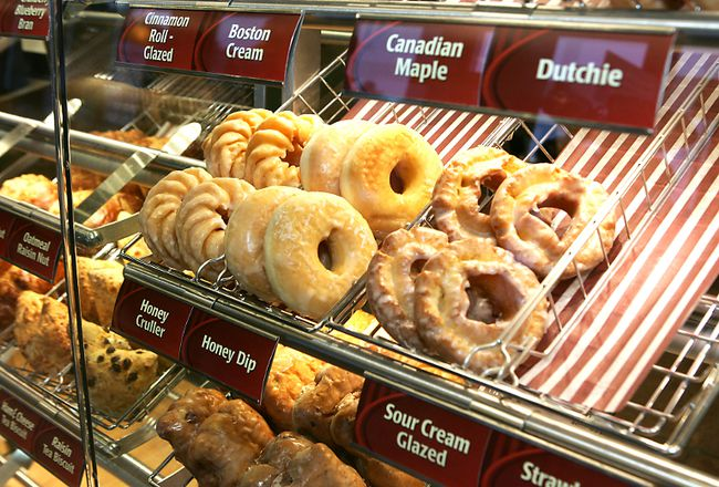 Doughnuts are on display at a Tim Hortons in this file photo. (CHRISTOPHER SMITH/QMI Agency)