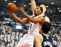 Toronto Raptors point guard Kyle Lowry drives to the net against the Brooklyn Nets during Game 5 of their Eastern Conference quarterfinal series at the Air Canada Centre in Toronto, April 30, 2014. (CRAIG ROBERTSON/QMI Agency)