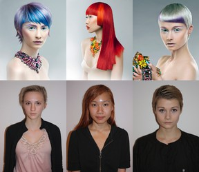 An 'after and before' collage of model photos from Tillsonburg stylist Rossa Jurenas's The Mirror Awards Colourist of the Year victory Saturday, April 5 in Toronto's Convention Centre.