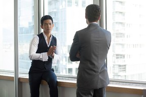 """John Cho, left, and Paulo Costanzo in """"That Burning Feeling""""."""
