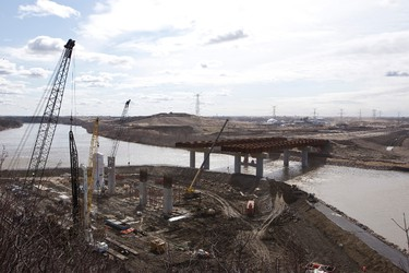 The Northeast Anthony Henday Drive worksite is seen in Edmonton, Alta., on Thursday, May 1, 2014. The project is set to be completed in 2016. By fall 2014, 1.4 million work hours will be done by crews to open a new interchange, new pavement and two new bridges. Ian Kucerak/Edmonton Sun/QMI Agency