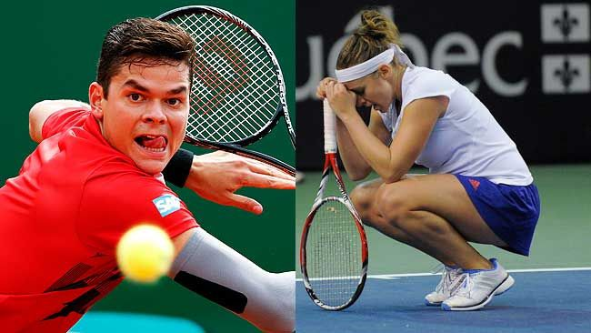 Milos Raonic advanced, while Eugenie Bouchard was sent packing at the Portugal Open. (REUTERS)