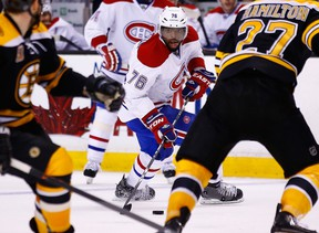 P.K. Subban of the Montreal Canadiens carries the puck into the offensive zone against the Boston Bruins in the second period in Game 2 at TD Garden on May 3, 2014. (Jared Wickerham/Getty Images/AFP)