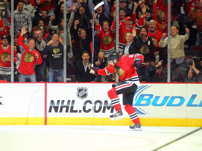 Chicago Blackhawks right wing Patrick Kane celebrates scoring against the Minnesota Wild during Game 1 of their playoff series. Chicago won 5-2. (Dennis Wierzbicki-USA TODAY Sports)