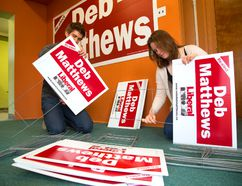 Brock Ceci and Kerry Waddell start to assemble Deb Matthews' lawn signs as the provincial campaigns kick into gear. The two workers were at the Matthews campaign office on Sunday (Mike Hensen/The London Free Press)