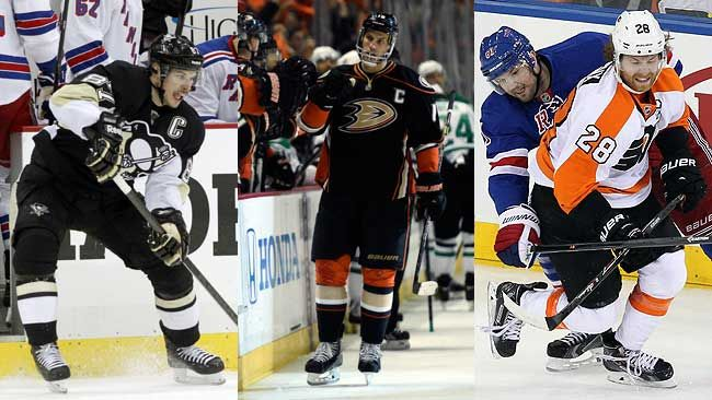 Sidney Crosby, Ryan Getzlaf, and Claude Giroux have been named finalists for the Ted Lindsay Award. (REUTERS)