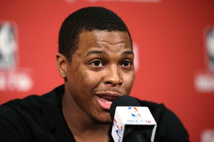 Raptors' Kyle Lowry speaks to the media on locker clean out day on Monday. (CRAIG ROBERTSON/Toronto Sun)