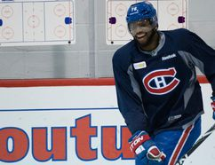 Montreal Canadiens blueliner P.K. Subban practises at the Bell Sports Complex in Brossard on May 7, 2014. (BEN PELOSSE/JOURNAL DE MONTRÉAL/QMI AGENCY)