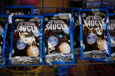 Freeze-dried space food is sold at the Space Place New Mexico store in Elephant Butte, New Mexico May 2, 2014.  The world's first purpose-built commercial space base and soon-to-be site of the first space flights with Sir Richard Branson's Virgin Galactic is near the town of Truth or Consequences in New Mexico. The inaugural flight into suborbital space should happen later this year and the first astronauts, who have made reservations and paid $250,000 for the flight, should follow a month later. While it's not clear what the economic impact will be, many agree that Spaceport America should inject new energy into the town. Picture taken May 2, 2014.      REUTERS/Lucy Nicholson