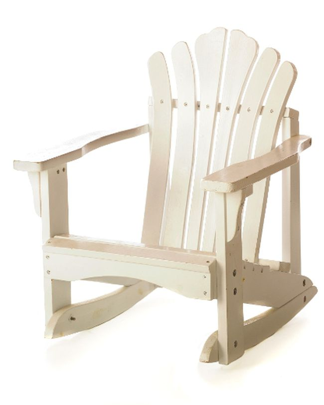 An all-white Adirondack rocking chair, isolated on white.