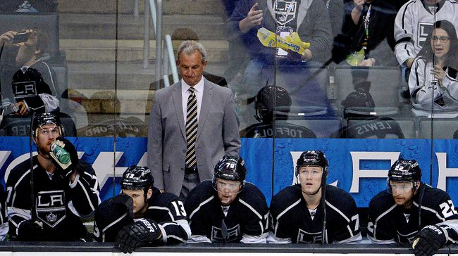 Coach Darryl Sutter patrols the Los Angeles Kings bench during Game 4 against the Anaheim Ducks. (Kirby Lee/USA TODAY Sports)