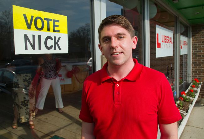 London West Liberal candidate Nick Steinburg at his campaign office in London, Ont. (MIKE HENSEN, The London Free Press)