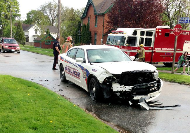 A Chatham-Kent officer received minor injuries following a crash Tuesday at approximately 5 p.m.