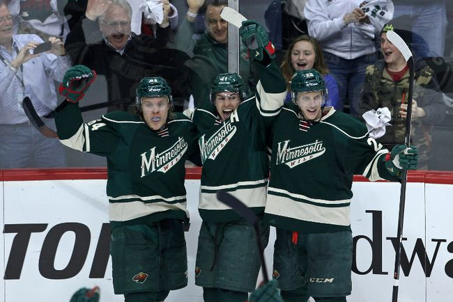 Mikael Granlund (left), Zach Parise, and Jonas Brodin are among a core of players that should keep the Minnesota Wild in the thick of the playoff race in the future. (Brace Hemmelgarn/USA TODAY Sports)
