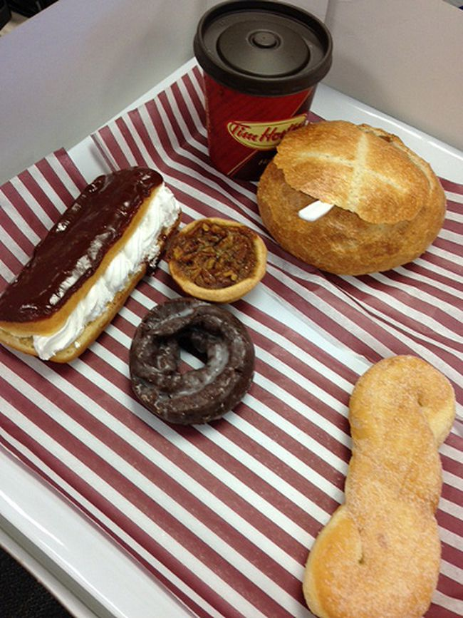 The eclair, sugar twist, pecan butter tart, chocolate sour cream glazed donut and bread bowl were the candidates for Tim Hortons Bring It Back campaign. (Meghan Mitchell/QMI Agency)