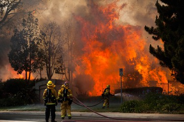 Firefighters battle the so-called Poinsettia Fire in Carlsbad, California May 14, 2014. At least two structures burned to the ground and some 15,000 homes and businesses were told to evacuate on Wednesday as the wind-lashed wildfire roared out of control in the heart of a Southern California coastal community. The blaze, which erupted shortly before 11 a.m. in Carlsbad, some 25 miles north of San Diego, quickly became the most pressing battle for crews fighting flames across the region amid soaring temperatures and hot Santa Ana winds.     REUTERS/Sam Hodgson