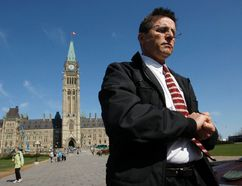 Hassan Diab leaves Parliament Hill following a news conference in Ottawa April 13, 2012. REUTERS/Blair Gable