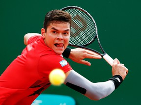 Milos Raonic of Canada moved into the quarterfinals at the Internazionali BNL d'Italia in Rome on Thursday. (REUTERS)