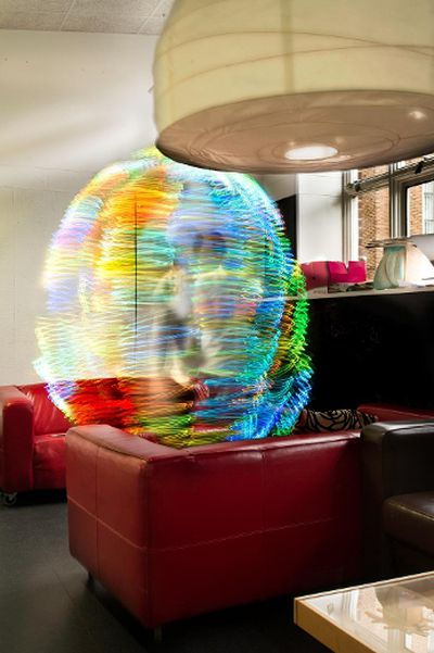British photographer Luis Hernan, a Newcastle University researcher, has created colourful photographs of the wireless networks that surround a person with a device he created. (Photo: Luis Hernan/Newcastle University/Handout/QMI Agency)