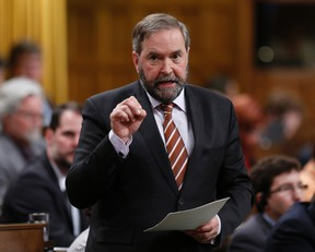 New Democratic Party leader Thomas Mulcair speaks during Question Period in the House of Commons on Parliament Hill in Ottawa May 13, 2014. (REUTERS/Chris Wattie)