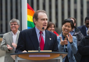Toronto Deputy Mayor Norm Kelly, joined by city councillors - speaks during the annual Pride flag raising ceremony at City Hall on Friday. (ERNEST DOROSZUK/Toronto Sun)