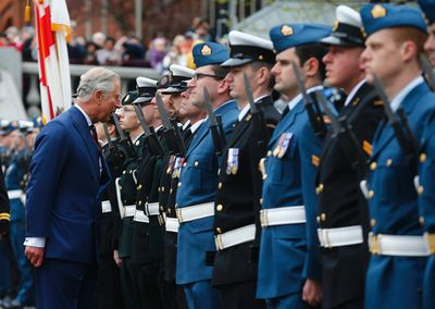 Britain's Prince Charles inspects the guard during the official welcome ceremony in Halifax, Nova Scotia, May 19, 2014. The royal couple are on a four-day visit to Canada that begins in Halifax and includes stops in Pictou, Nova Scotia, the Prince Edward Island towns of Charlottetown, Bonshaw and Cornwall and concludes in Winnipeg.(REUTERS/Mark Blinch)