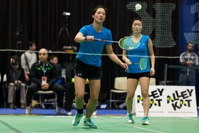 Reigning women's doubles champions Jessica Yu (left) and Powin Lau were active and successful during the successful campaign to keep the Alberta Colleges Athletic Conference badminton program alive and see it finally restored as a full member of the Canadian College Athletic Conference national picture. (Supplied)