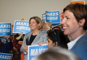 Ontario NDP Leader Andrea Horwath smiles during a campaign stop in Kingston on Saturday. Julia McKay/The Whig-Standard