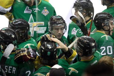 Val-d'Or Foreurs Anthony Richard  (#9) is mobbed by teammates after his goal in the second overtime period gave his team a 4-3 victory over the Edmonton Oil Kings during Memorial Cup action in London, Ont. on Tuesday May 20, 2014. DEREK RUTTAN/London Free Press/QMI Agency