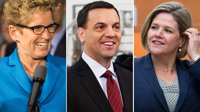 Liberal leader Kathleen Wynne, Progressive Conservative leader Tim Hudak and NDP leader Andrea Horwath. (QMI Agency file photos)