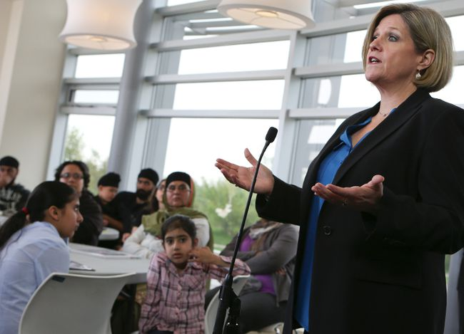 NDP Leader Andrea Horwath at Brampton library's Cyril Clark branch on Wednesday. (DAVE THOMAS/Toronto Sun)