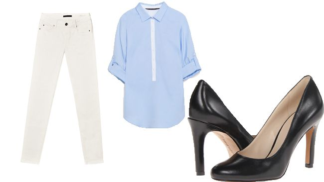 "Here are a few of our fave ways to wear white denim - but with a blank canvas this good, the possibilities are infinite.<br><b>PROFESSIONAL</b><br>Zara button-down, $35.90, <A HREF=""http://www.zara.com/ca/""TARGET=""newwindow"">Zara.com</a><br>Fidelity Mila skinny jeans, $172, <A HREF=""http://fidelitydenim.com""TARGET=""newwindow"">FidelityDenim.com</a><br>Nine West pumps, $120, <A HREF=""https://www.ninewest.ca/""TARGET=""newwindow"">NineWest.ca</a>"