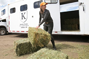 Scierra Chmiliar of South Brook Farms prepares hay during preparations for the Edmonton Classic Horse Show, which begins on Thursday, at Whitemud Equine Learning Centre Association in Edmonton, Alta., on Wednesday, May 21, 2014. Codie McLachlan/Edmonton Sun/QMI Agency