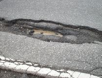 Supplied photo Mayoral candidate Richard Majkot took this photo of potholes on Highway 17 at the entrance to Copper Cliff, just under the railroad bridge.