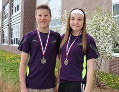 Cobblestone Elementary School Grade 8 students Andrew Hazell and Rachel Woods managed to turn a second-place finish at regionals in badminton mixed doubles into a first-place finish in all of Brant County. (MICHAEL PEELING/QMI AGENCY)