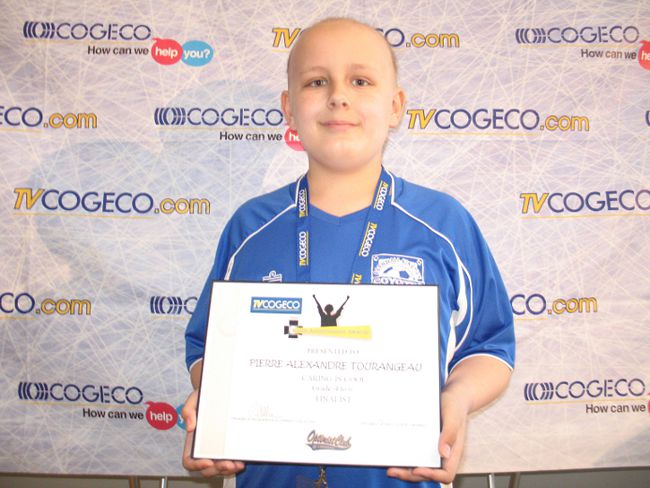 <p>Pierre Alexandre Tourangeau, a Grade 5 student at Immaculate Conception school in Cornwall who's battling leukemia, was the first winner announced Thursday night at the first-ever TVCOGECO Youth Achievement Awards.</p><p>TODD HAMBLETON/CORNWALL STANDARD-FREEHOLDER/QMI AGENCY