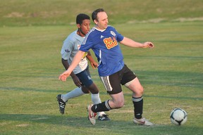 Anthony Bryson of the Portage Aeros gets to the ball during the Aeros' game against U18 Bonivital United May 22. (Kevin Hirschfield/The Graphic)