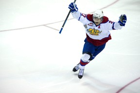 Edmonton's Curtis Lazar celebrates after he scored in the third overtime to end the longest game in Memorial Cup history during CHL Memorial Cup semi-final action between the Edmonton Oil Kings and the Val-d'Or Foreurs in London, Ont. on Friday May 23, 2014.  DEREK RUTTAN/ The London Free Press /QMI AGENCY