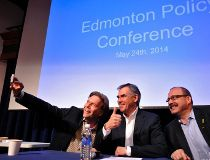 The three PC leadership candidates pose for a selfie.