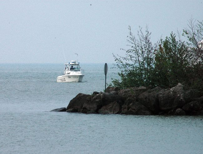 OPP search vessel off Port Stanley western breakwater Tuesday morning.