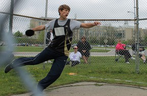 Mark Bujnowski at WOSSAA. He placed first in junior boys shot put and discus and goes on to OFSAA this week in Windsor. (Photo submitted)