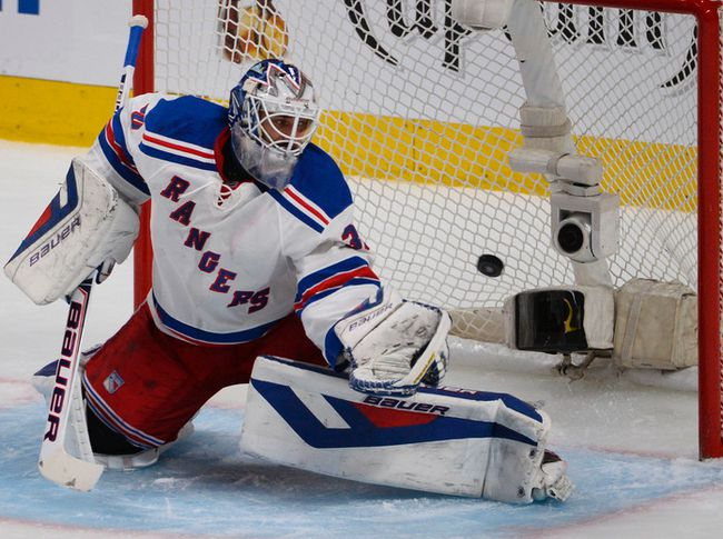 Rangers goalie Henrik Lunqvist lets in a goal against the Canadiens in Montreal on Tuesday night. (MARTIN CHEVALIER /QMI AGENCY)