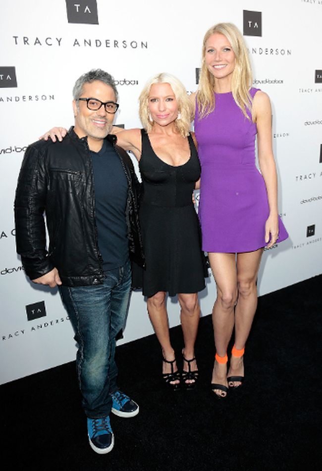Gwyneth Paltrow, Tracy Anderson and David Babaii celebrate the opening of the Tracy Anderson Flagship Studio. (Brian To/WENN.com)
